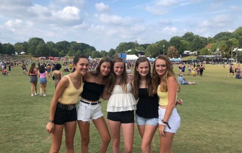 Sophomores (from left to right) Courtney Klein, Mia Otoski, Katie Sigal, Greta Gustafson and Tori Williams pose at Music Midtown last year. Williams is upset that the event is cancelled this year, but she's looking forward to going next year even more.