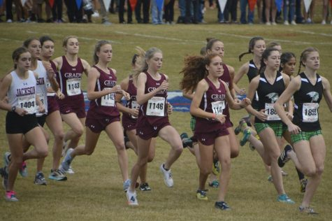 Seven members of the Grady girls cross country team sprint from the starting line of the state meet at Carrollton. They finished in ninth place. From left: sophomores Sarah Prevost and Aden Mikus, juniors Keira Ely, Zoe Chan and Ellie Spears and sophomores Emilia Weinrobe and  Jamie Marlowe.