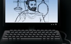 A picture of Grumio, a popular character from the Cambridge Latin textbooks, is shown on a computer screen. (credits for Grumio's image go to the Cambridge Latin Course textbook series).