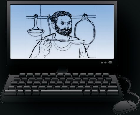 A picture of Grumio, a popular character from the Cambridge Latin textbooks, is shown on a computer screen. (credits for Grumio