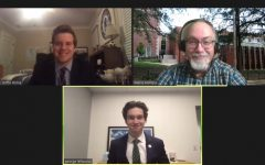 Seniors Griffin Richie (top left) and George Lefkowicz (bottom center) heard about the China Chengdu-U.S. Sister Cities Youth Debate Challenge from Grady Jesters debate coach Mario Herrera (top right). Richie and Lefkowicz represented one out of 14 teams from the United States. The pair made it to the quarterfinals and placed fifth.