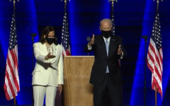 President-Elect Joe Biden and Vice President-Elect Kamala Harris greet the American people during their acceptance speech. This event drew a massive crowd to the the stage in Biden's hometown of Wilmington, Delaware.