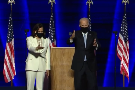 President-Elect Joe Biden and Vice President-Elect Kamala Harris greet the American people during their acceptance speech. This event drew a massive crowd to the the stage in Biden