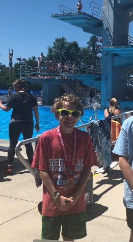 Freshman McCoy Lyman is shown here after placing in the 2019 USA Diving Junior Region 3 Championships.