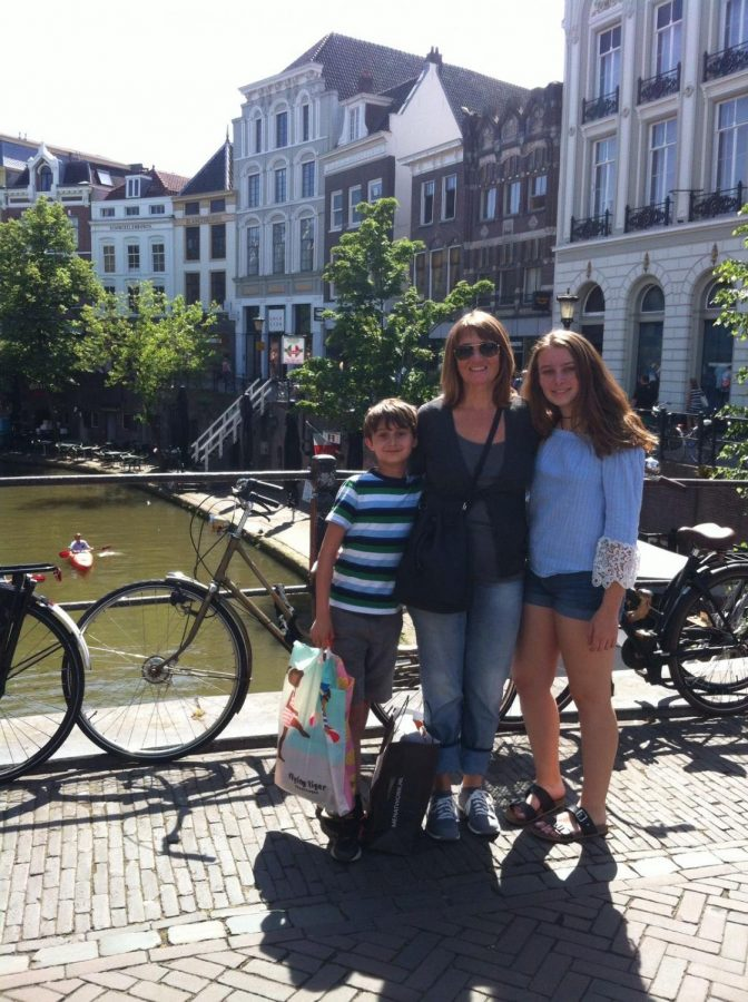 Emma Uppelschoten and her family in the Netherlands; she applied to two schools there and has had to rely on personal experience instead of college tours because of the pandemic.