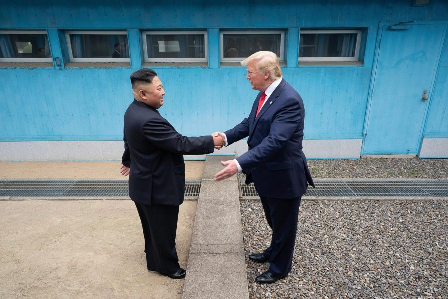 U.S.+President+Donald+Trump+meets+North+Korean+President+Kim+Jong+Un+at+the+demilitarized+zone+between+North+and+South+Korea+on+June+30%2C+2019.