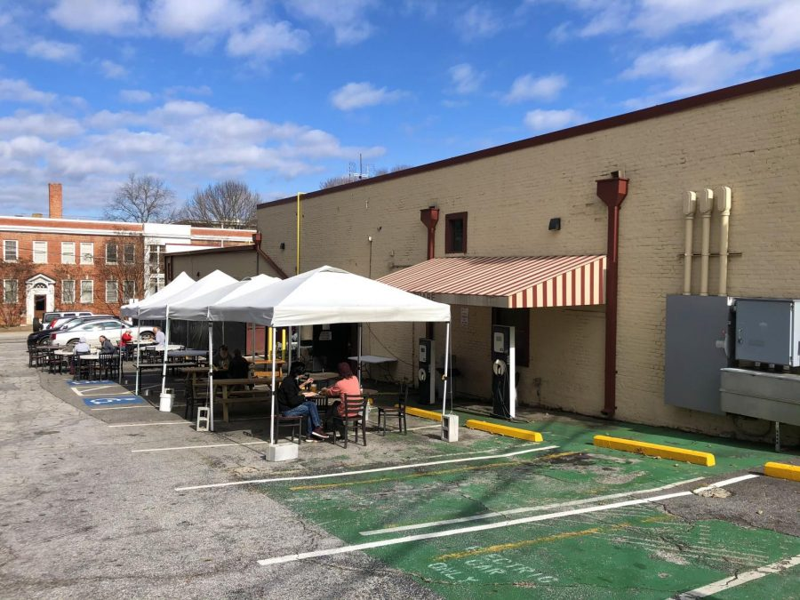 After customers started to seat themselves when Manuel's was only doing take out, the staff decided to set up numerous tents and tables for socially distanced outdoor seating. This area is located behind the restaurant in the back parking lot.