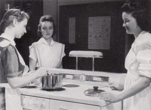 Students in a college home economics class in 1942 at Shimer College, a now-closed institution. Grady no longer offers courses in home economics.