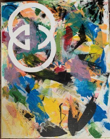 Students complete all assignments at home, including this piece from an expressionistic logo project.