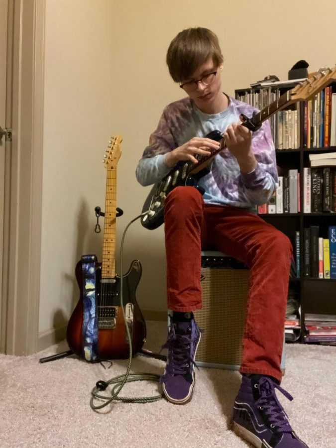 Matthew Vincent often takes time in between classes to play with his guitar and see what new sounds he can create, and whether they are worth adding to a new composition.