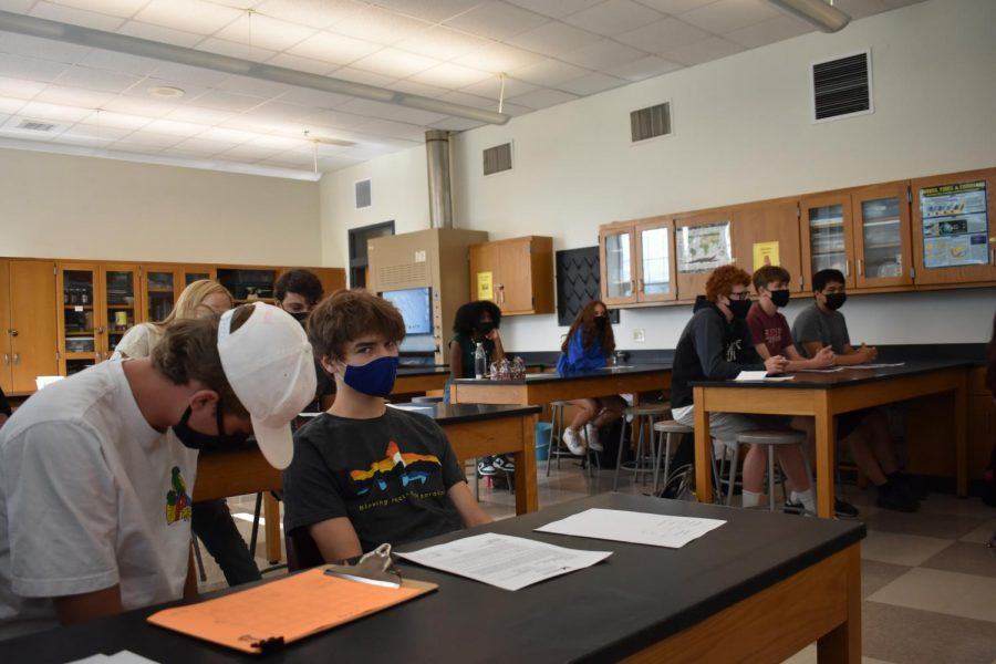 Senior AJ Franklin and his classmates are seen pictured on the first day of school in their AP Biology class. The return to school marked the first time many students would step inside Midtowns campus in a little over one and a half years.