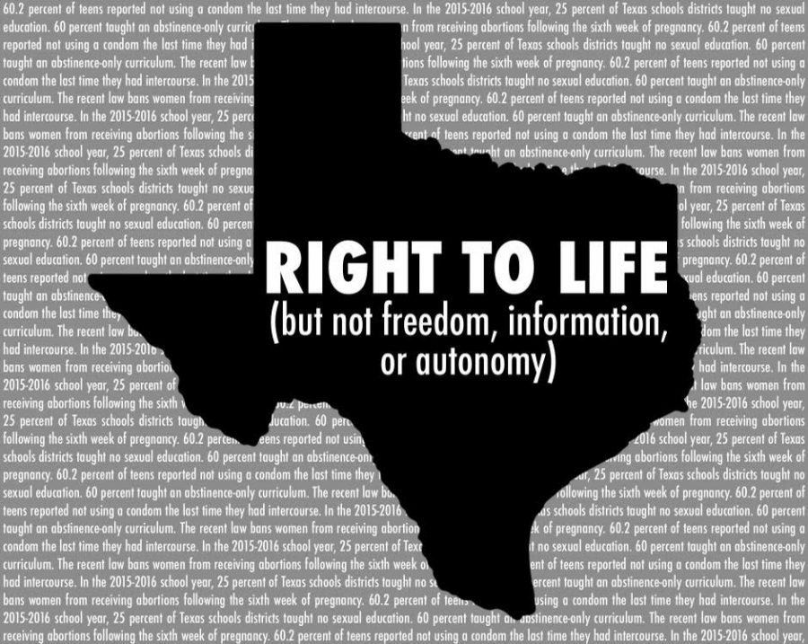 The Texas abortion ban and the right to life denies students and citizens of their rights to access of information, contraception and comprehensive sexual education.