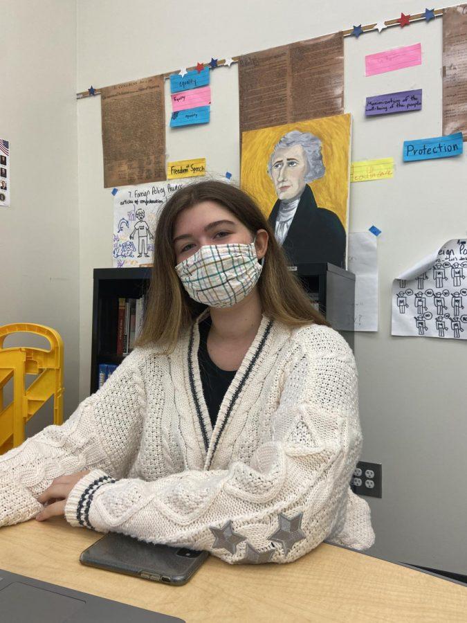 Senior Adeline Diem seen in her AP Government class.