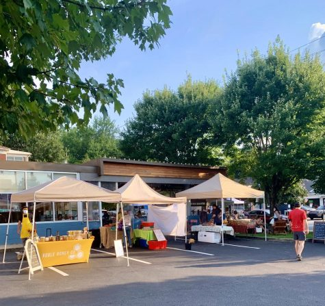 Booths lined up at the Virginia Highland Farmers Market on August 12th. The lineup of vendors change every week depending on popularity and season.