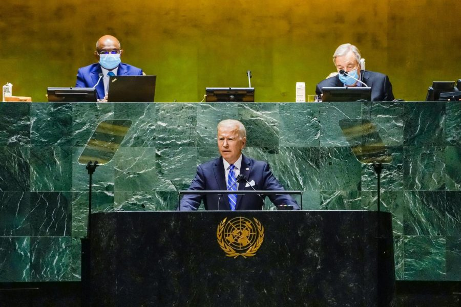 Pres. Biden delivers his debut speech to the UN General Assembly on Sept. 21. In his address, Biden stressed the importance of international cooperation to address issues such as the ongoing Covid-19 pandemic and reiterated commitments to restoring the U.S.s position as a trusted ally on the world stage. However, these ideals serve as a marked contrast to his foreign policy in his first eight months as president.