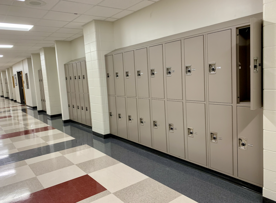 Empty lockers line the halls in the C Building. Students rarely use lockers during the school day.