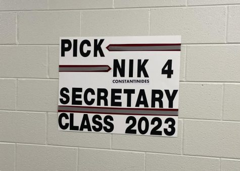 Class of 2023 Secretary candidate, junior Nik Constantinides, has posted campaign posters around the school.