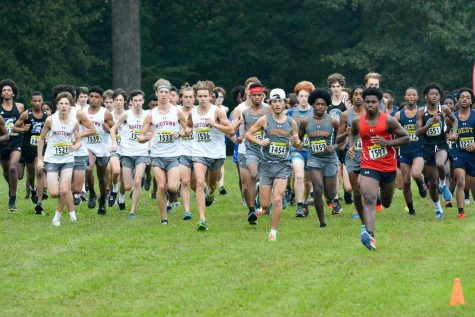The boys cross country team starts the city cross country meet. It was held at Grant Park on Saturday, Oct 2. The team placed 2nd overall.
