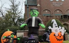 Halloween decorations adorn Morningsides front entrance in preparation for the event.