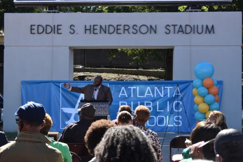 APS Athletic Director, Jasper Jewell commemorates Henderson with a speech summarizing his accomplishments.